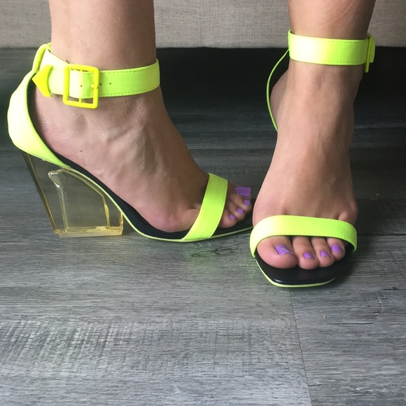 2295e7d0059 Neon Yellow Open Toe Clear Square Chunky High Heel